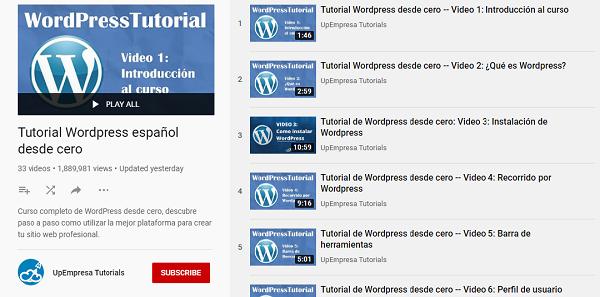 curso de wordpres gratis en youtube