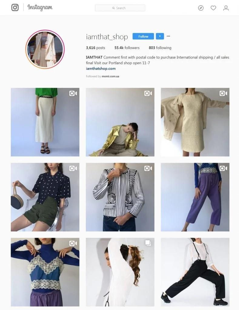 cuenta de instagram de iamthat_shop
