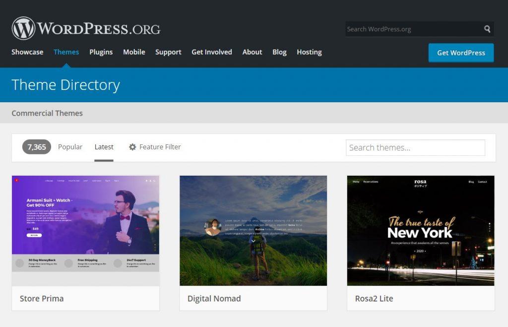 themes sur wordpress org