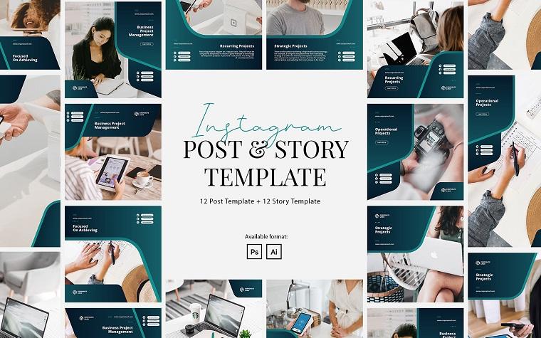 Elegante modello di storia di post Instagram aziendale per social media.