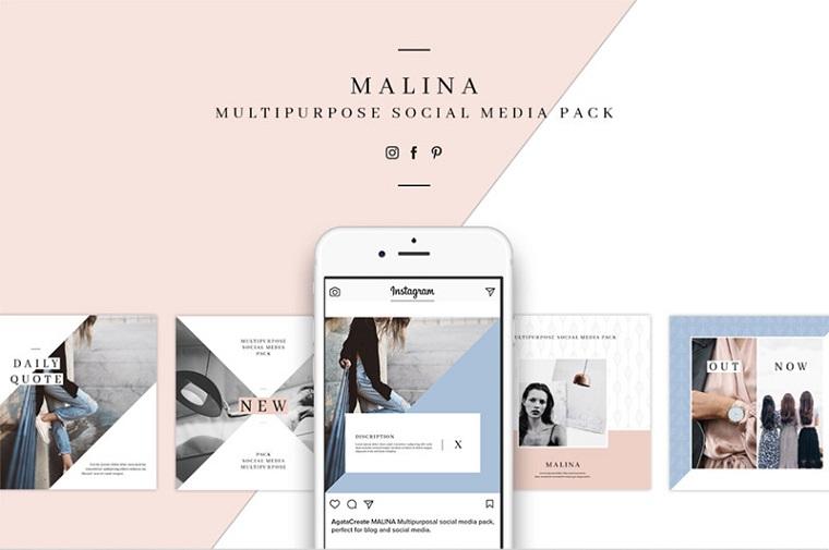 Pacchetto MALINA e 20 modelli di modelli di social media.