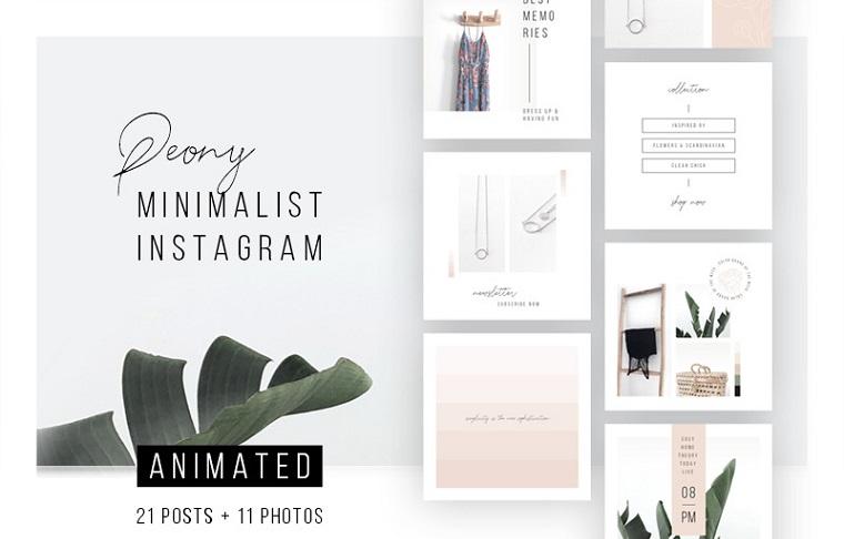 Post di Instagram ANIMATI - Modello di social media peonia.