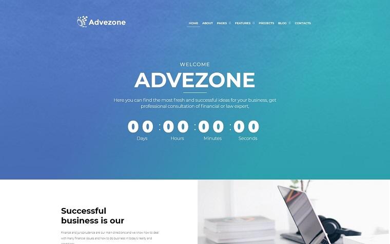Advezone - motyw WordPress dla doradców finansowych.