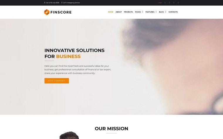 Finscore - Consulting Responsive WordPress Theme.