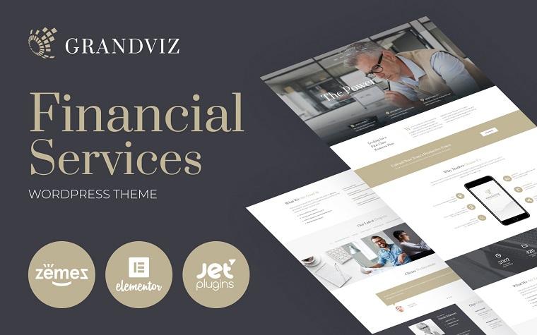 Grandviz - motyw WordPress Premium firmy finansowej.