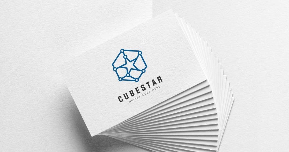 Cube Star Logo Template.