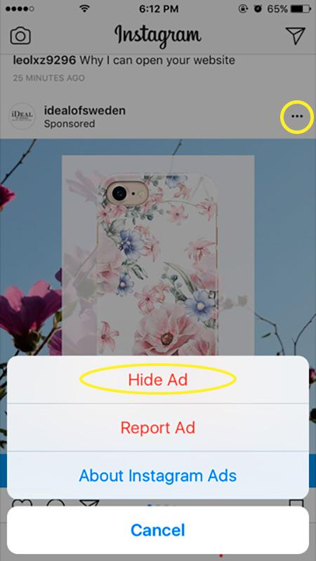 ukryte funkcje na instagram - reklama