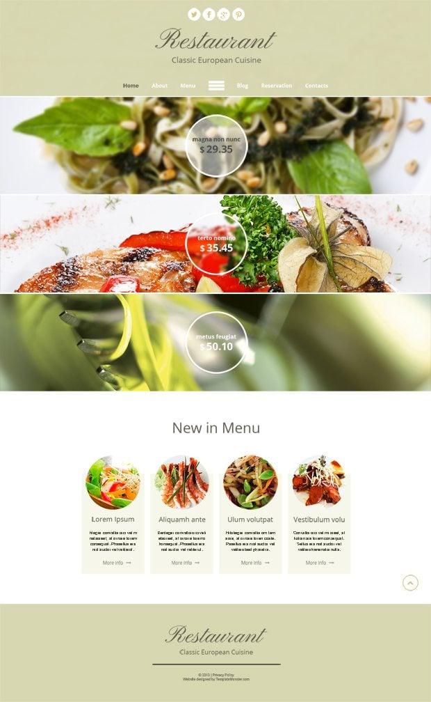 Бесплатный HTML5 шаблон для сайта ресторана