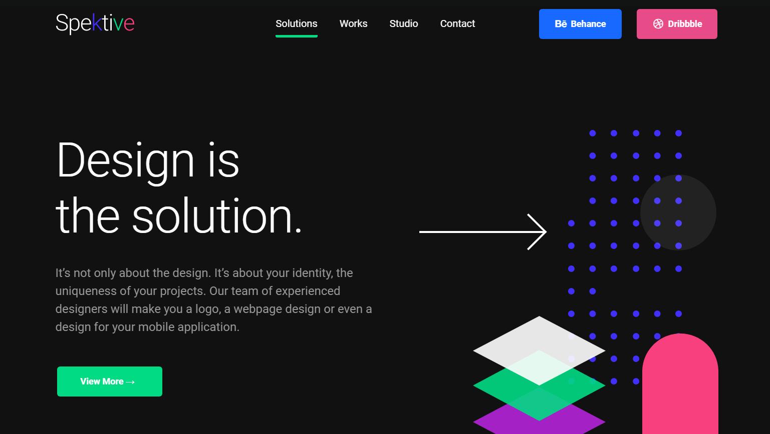Темный дизайн веб сайта с неонановыми цветами.