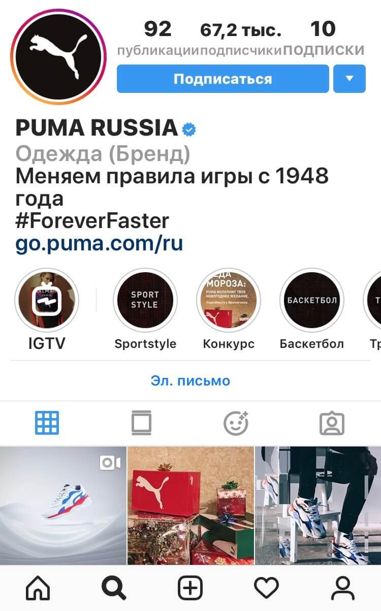 Пример оформления био профиля известного бренда.
