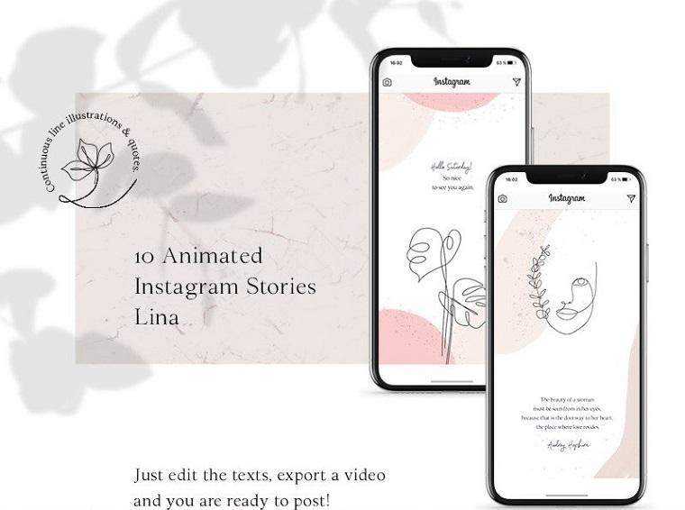 Анимированные истории из Instagram - шаблон для социальных сетей Lina.