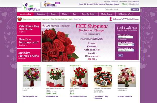 valentines custom web design – 1800flowers.com