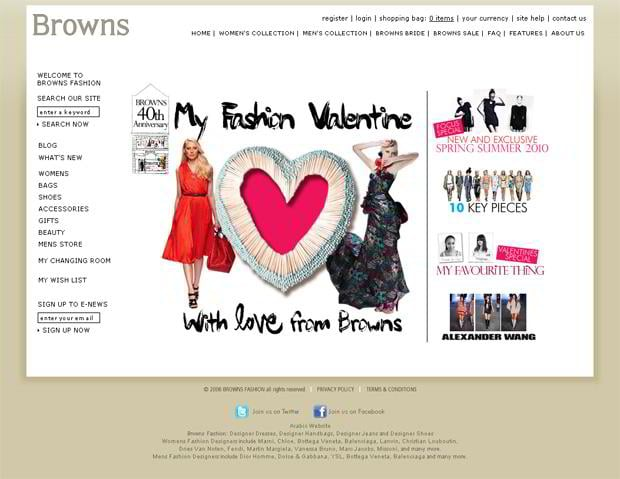 valentines website design – Brownsfashion.com