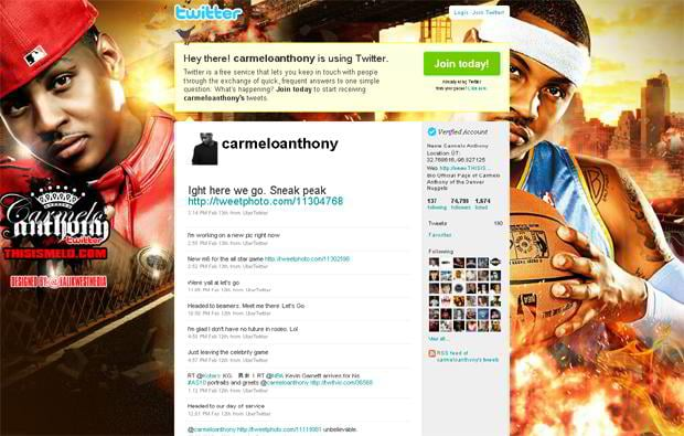 Carmelo Anthony · The Most Intriguing Twitter Backgrounds of Basketball