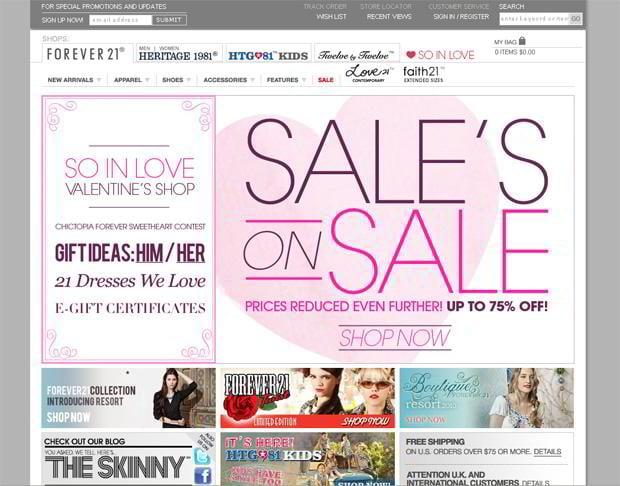 valentine custom web design – Forever21.com