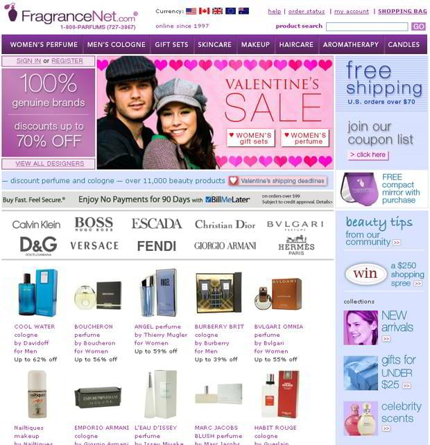 valentine website customization – Fragrancenet.com