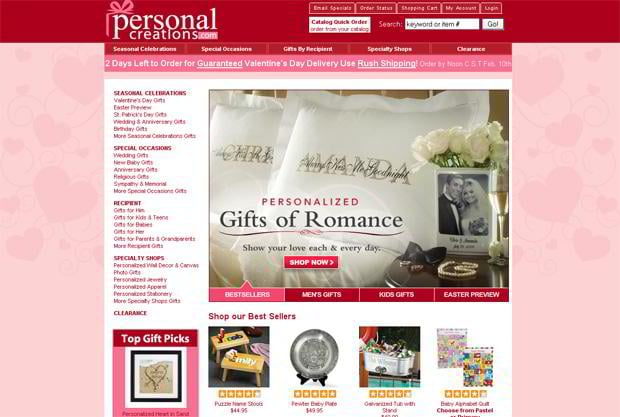 valentines website design – Personalcreations.com