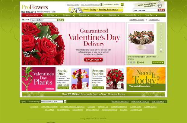 valentines website design – Proflowers.com
