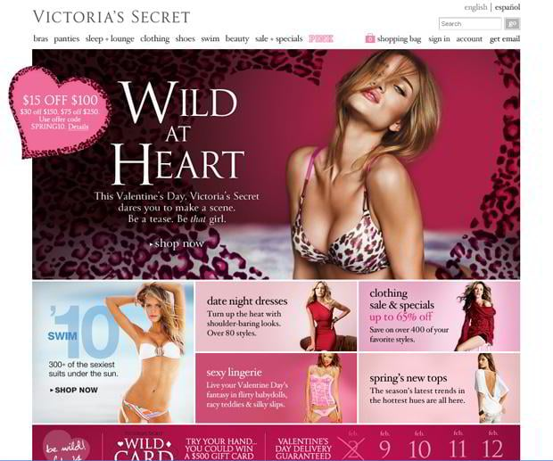 valentines website customization – Victoriassecret.com