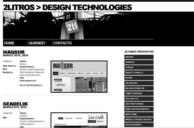 wordpress portfolio website design - 2litros.cl