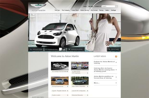 car web design theme - Aston Martin