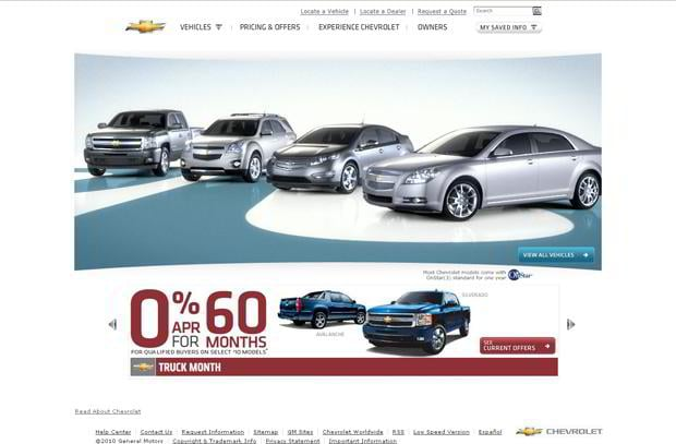 car web design theme - Chevrolet