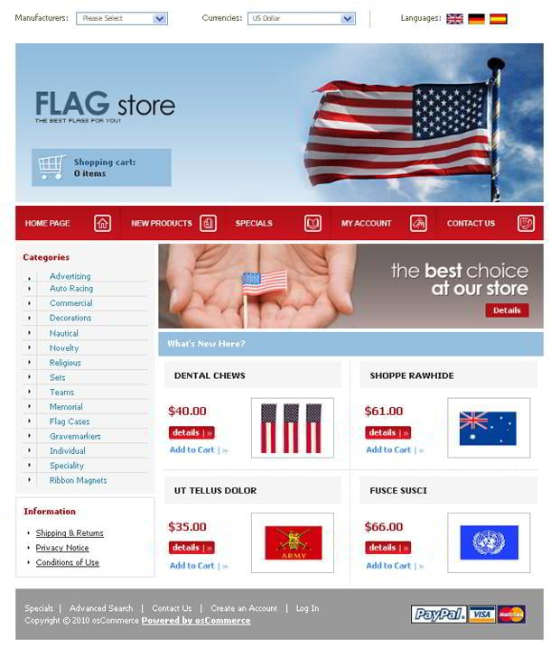Web templates with flag images - FLAG.store