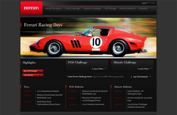 car website design - Ferrarichallenge