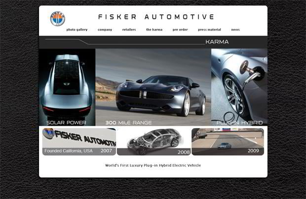 car webpage design - Fisker