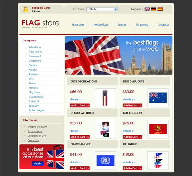 Images flag in web designs - FlagStore