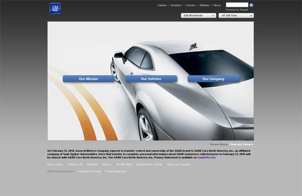 car website design - General Motors