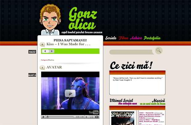 wordpress video blog design - Gonzolicu.org