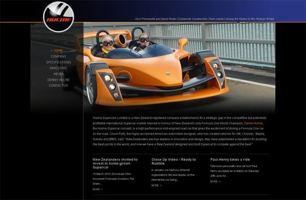 car web design theme - Hulmesupercars