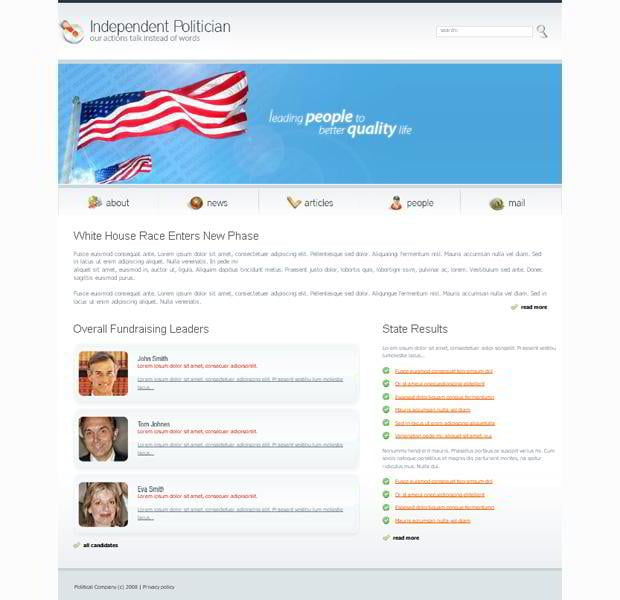 Flag graphic in web templates - Independent Politician