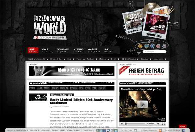 wordpress video design - Jazzdrummerworld.com