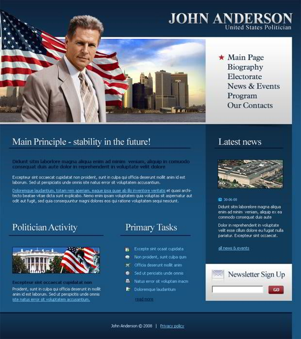 Web designs with flag pictures  - John Anderson