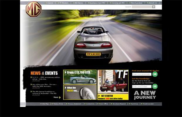 car web design - MG