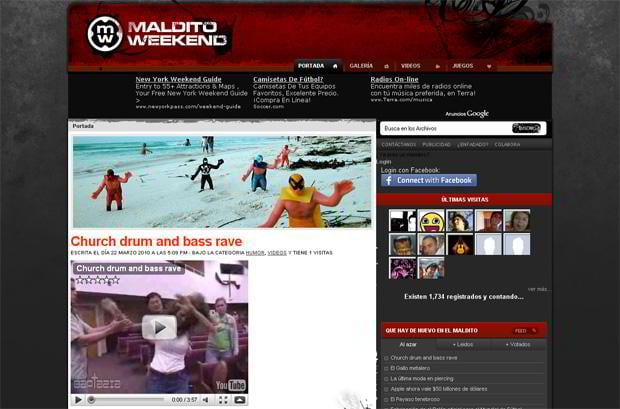 wordpress design video blog - Malditoweekend.com