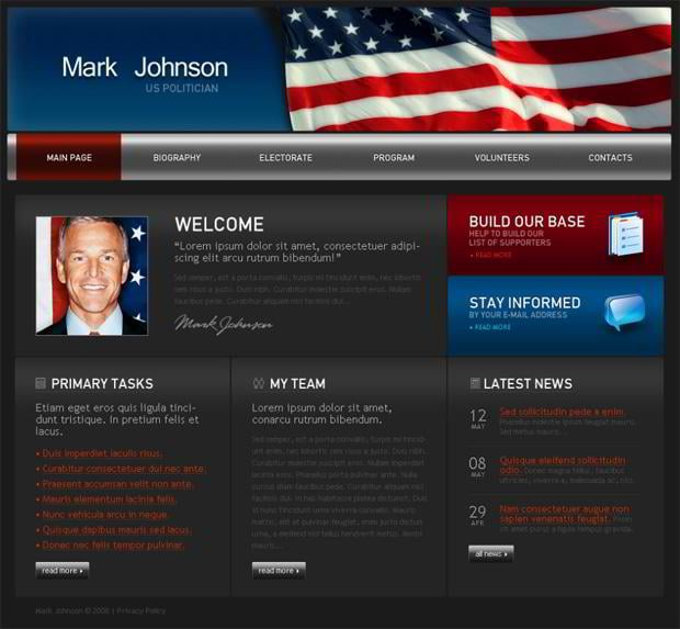 Web designs with flags pictures - Mark Johnson
