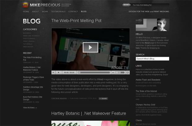 wordpress video blog design - Mikeprecious.com