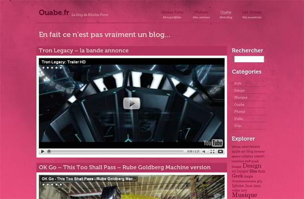 wordpress video blog web design - Ouabe.fr