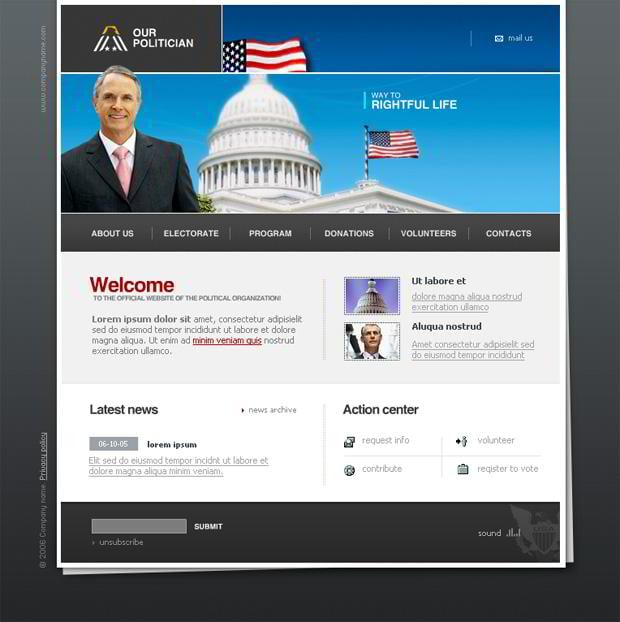 Flags images in web designs - Our Politician