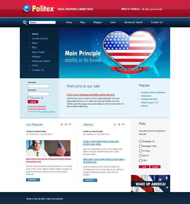 Web designs with flag pictures - Politex