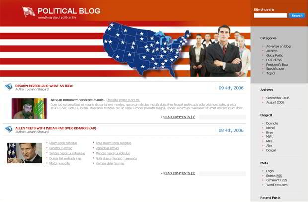 Flags images in web templates - Political Blog