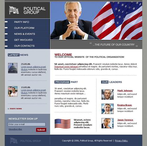 Web templates with flags pictures - Political Group