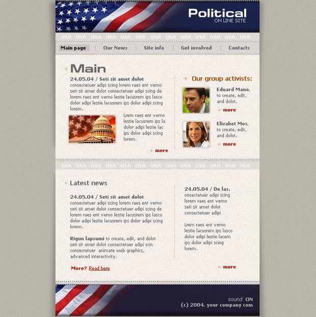 Pictures flag in web designs - Political Online Site