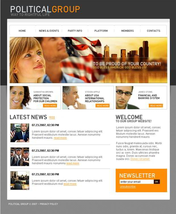 Web templates with flag graphics - PoliticalGroup