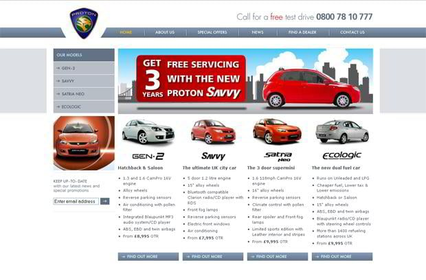car web page design - Proton