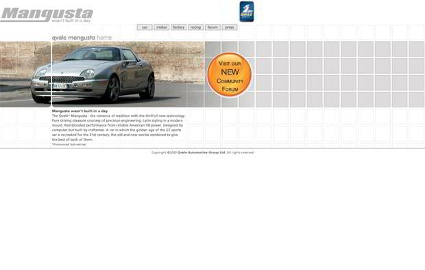 car website design - Qvale Mangusta
