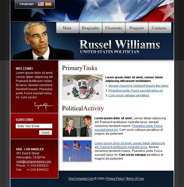 Web designs with flag pictures - Russel Williams